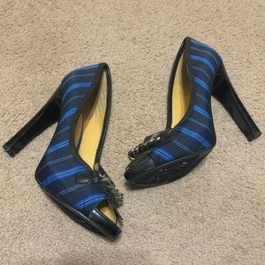 Nine West Honey Dark Blue Pin Striped High Heels